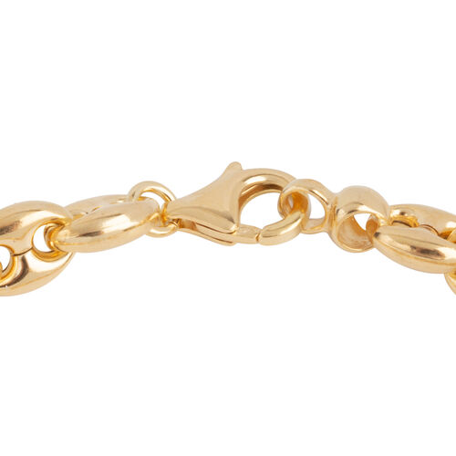 Italian Made- Gold Overlay Sterling Silver Mariner Bracelet (Size 8), Silver wt 12.86 Gms.