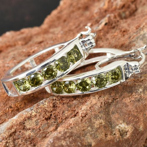 ELANZA Simulated Diopside (Rnd) Hoop Earrings (with Clasp Lock) in Sterling Silver, Silver wt 5.52 Gms.
