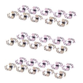 Set of 30 - Simulated Pink Sapphire and Simulated Champagne Diamond Floral Hairpins in Black Tone