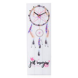 Wall Decor - Dream Catcher Pattern Rectangle Glass Wall Clock (Size 60x20x4 Cm)