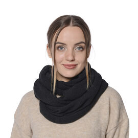 Designer Inspired-Black Colour Infinity Scarf (Size 77x70 Cm)