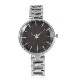 STRADA Stellar Japanese Movement Water Resistant Black Stardust Metal Bracelet Watch in Stainless St