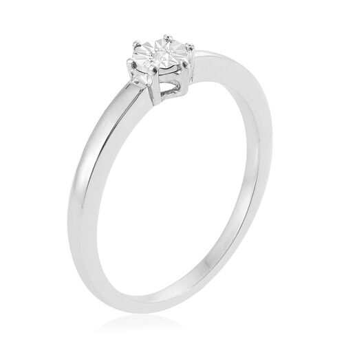Diamond (Rnd) Solitaire Ring in Platinum Overlay Sterling Silver