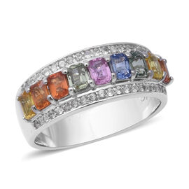 2.84 Ct Rainbow Sapphire and Zircon Band Ring in Rhodium Plated Silver