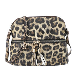 Designer Inspired - Leopard Print Crossbody Bag with Tassel Zipper (Size 26x10x23cm) - Brown
