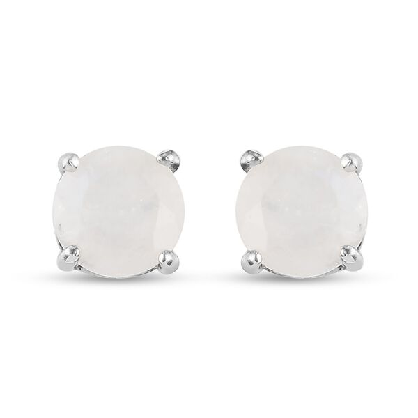 MP AA Rainbow Moonstone (Rnd 7 mm) Stud Earrings (with Push Back) in Platinum Overlay Sterling Silve