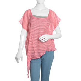 Designer Inspired - Pink and White Colour Printed Floaty Top (Free Size)