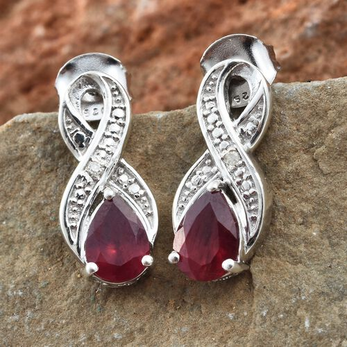 African Ruby, Diamond Earrings (with Push Back) in Platinum Plated Silver 1.75 Ct