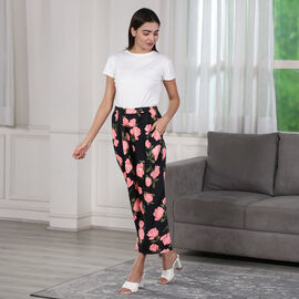 Summer Floral Printed Trousers - Black
