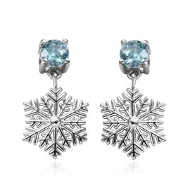 Blue Zircon (Rnd) Snowflake Design Earrings (with Push Back) in Platinum Overlay Sterling Silver 1.2