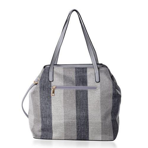 Black and Grey Stripe Large Tote Bag with Adjustable Shoulder Strap (Size 43x32x28.5x15.5 Cm)