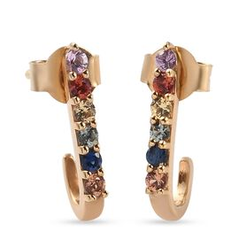Multi Sapphire Dangling Earrings (with Push Back) in 14K Gold Overlay Sterling Silver
