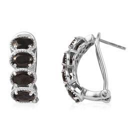 2.25 Ct Elite Shungite Hoop Earring in Platinum Plated Sterling Silver