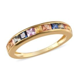 Collectors Edition- Rainbow Sapphire (Princess Cut) in 14K Gold Overlay Sterling Silver 1.37 Cts