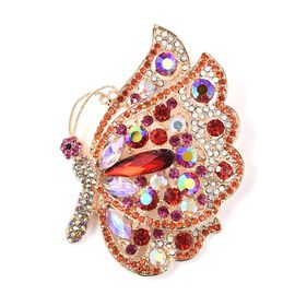 Simulated Ruby and Multi Gemstone Butterfly Brooch in Gold Tone