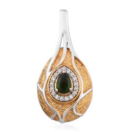 Russian Diopside and Natural Cambodian Zircon Pendant in Platinum and Yellow Gold Overlay Sterling S