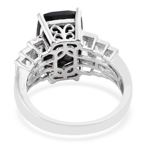 Black Tourmaline (Cush 7.95 Ct), White Topaz Ring in Platinum Overlay Sterling Silver 9.750 Ct.