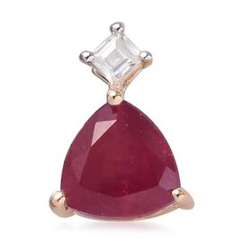 9K Yellow Gold AA African Ruby and Natural Cambodian Zircon Pendant 1.10 Ct.