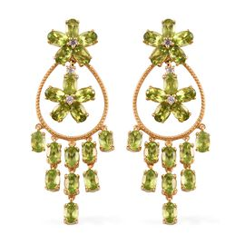 19 Ct Hebei Peridot and Zircon Chandelier Earrings in Gold Plated Sterling Silver 14.83 Grams