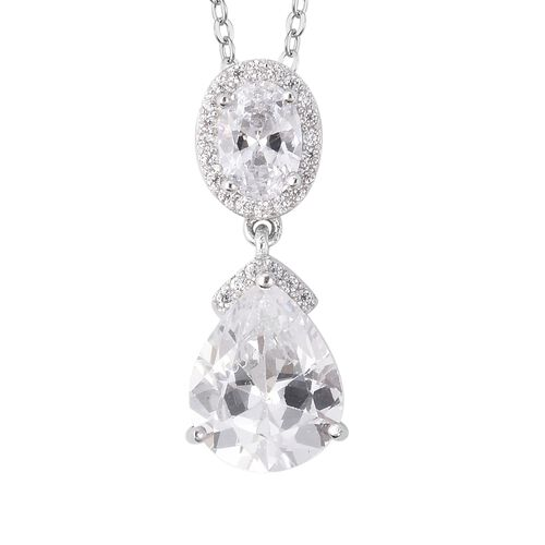 ELANZA Simulated Diamond (Pear) Pendant With Chain (Size 18) in Rhodium Overlay Sterling Silver