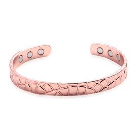 Mud Crack Pattern Cuff Bangle (Size 7) in Rose Gold Tone