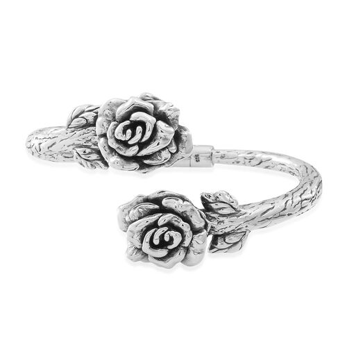 Statement Collection Sterling Silver Rose Bypass Bangle (Size 7.5), Silver wt 20.50 Gms.