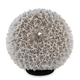 Handcrafted Seashell ES Battery Table Lamp with Donut Shape Frangipani Motif (Size 20 Cm)