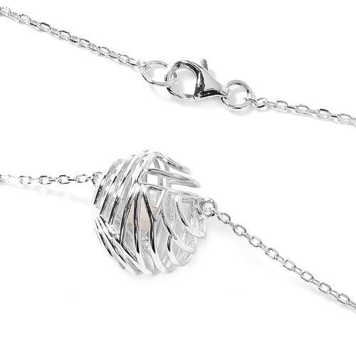 Isabella Liu - Sea Rhyme Collection - White Mother of Pearl (Rnd) Necklace (Size 33) in Rhodium Overlay Sterling Silver 10.77 Ct.