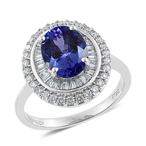 RHAPSODY 2.50 Carat AAAA Tanzanite and Diamond Double Halo Ring in 950 Platinum 6.11 Grams VS EF
