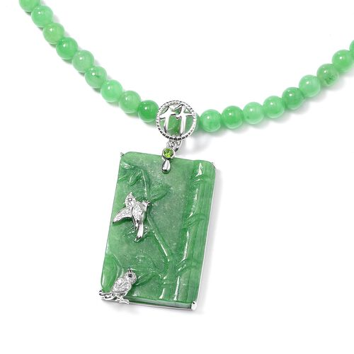 Bamboo and Bird Carved Green Jade and Multi Gemstone Necklace (Size 18) in Rhodium Overlay Sterling Silver 220.84 Ct, Silver wt 6.90 Gms
