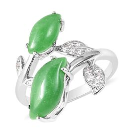4.93 Ct Green Jade and Natural White Cambodian Zircon Leaf Bypass Ring in Rhodium Plated Silver