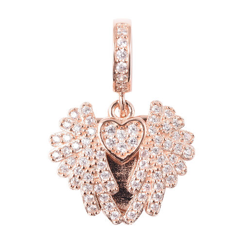 Charmes De Memoire - Simulated Diamond Heart with Angel Wings Charm in Rose Gold Overlay Sterling Si
