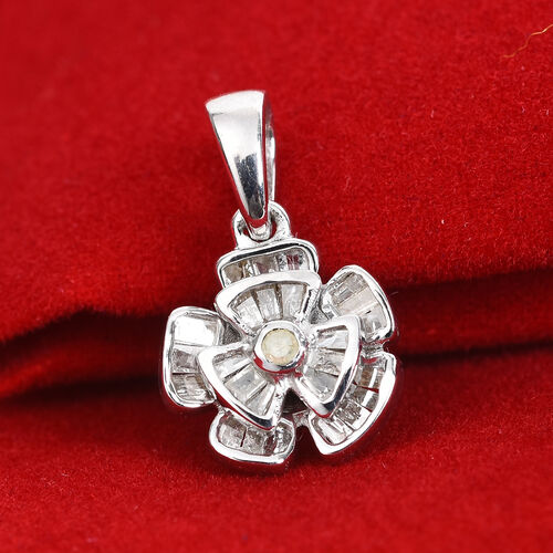 Diamond Floral Pendant in Platinum Overlay Sterling Silver 0.25 Ct.