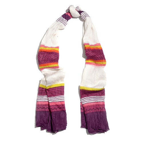 100% Cotton Purple, White, Yellow and Multi Colour Stripe Pattern Scarf (Size 200x90 Cm)