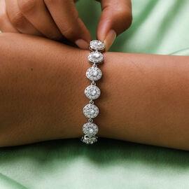 J Francis Platinum Overlay Sterling Silver Adjustable watch Bracelet (Size:6.5-7.5-8) Made with SWAROVSKI ZIRCONIA 6.880 Ct, Silver wt.15.50 Gms
