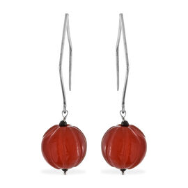 Limited Edition- Carved Natural Agate and Boi Ploi Black Spinel Earrings in Sterling Silver 72.450 Ct.