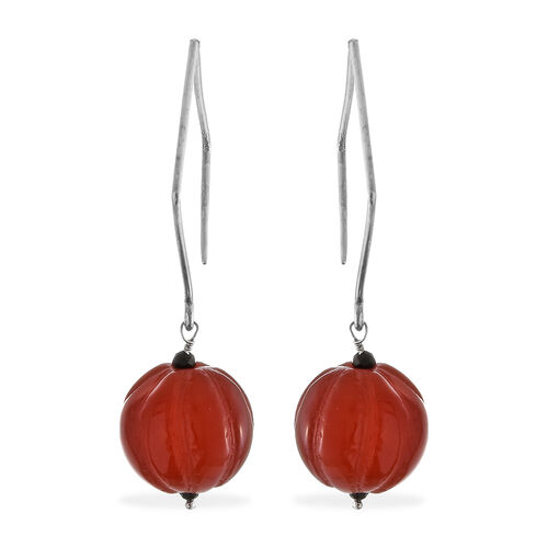 Limited Edition- Carved Natural Agate and Boi Ploi Black Spinel Earrings in Sterling Silver 72.450 C