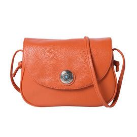 100% Genuine Leather Middle Size Litchi Pattern Crossbody Bag (Size 23x8x18cm) - Orange