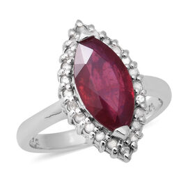 African Ruby and Diamond Ring in Rhodium Overlay Sterling Silver 4.17 Ct.