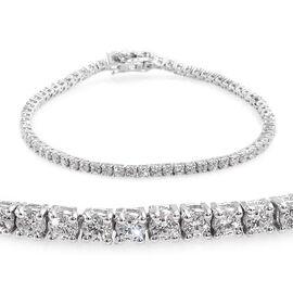 J Francis - Platinum Overlay Sterling Silver (Rnd) Tennis Bracelet (Size 8) Made with SWAROVSKI ZIRC