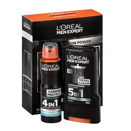 LOreal Carbon Power : Total Clean Shower Gel 300ml and Carbon Protect Anti-Perspirant 150ml