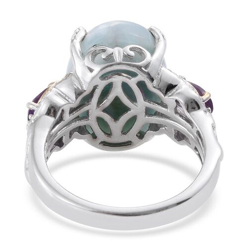 GP Larimar (Ovl 10.80 Ct), Amethyst, Natural Cambodian Zircon and Kanchanaburi Blue Sapphire Ring in Platinum and Yellow Gold Overlay Sterling Silver 12.000 Ct.