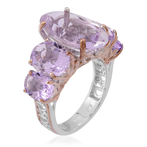 Rose De France Amethyst (Ovl 7.16 Ct) 5 Stone Ring in Rhodium Plated and Rose Gold Overlay Sterling Silver 14.000 Ct.