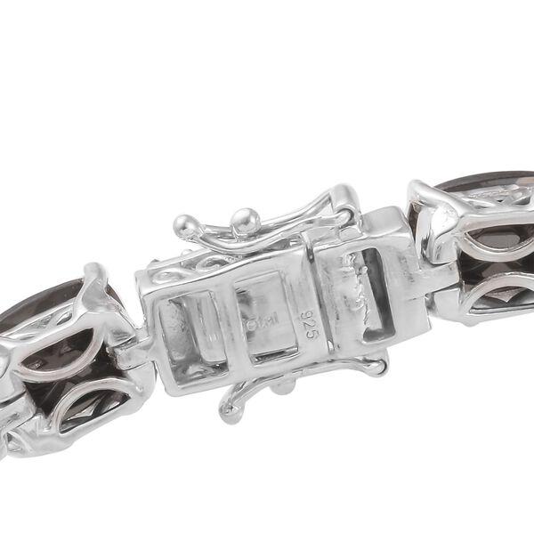 Elite Shungite (Cush), Natural Cambodian Zircon Enamelled Bracelet (Size 8) in Platinum Overlay Sterling Silver 14.50 Ct, Silver wt 19.10 Gms