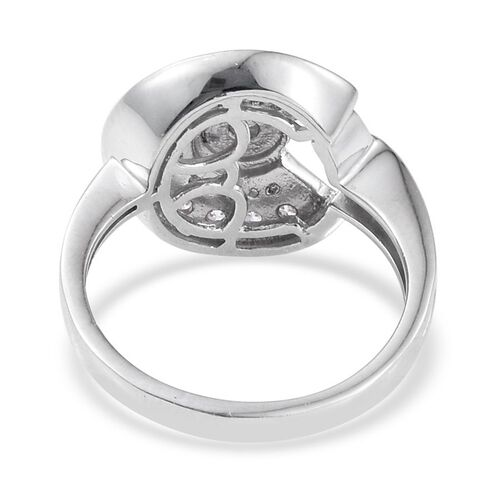 J Francis - Platinum Overlay Sterling Silver (Rnd) Ring Made with SWAROVSKI ZIRCONIA, Silver wt 3.50 Gms.
