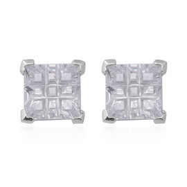 ELANZA Simulated Diamond (Sqr) Stud Earrings (with Push Back) in Rhodium Overlay Sterling Silver