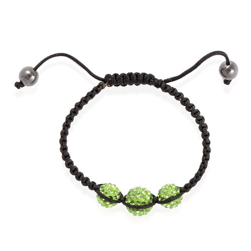Hematite and Green Austrian Crystal Hook Earrings, Ring and Bracelet (Adjustable) 10.000 Ct.