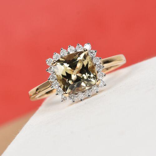 9K Yellow Gold Diaspore and Diamond Halo Ring  1.90 Ct.