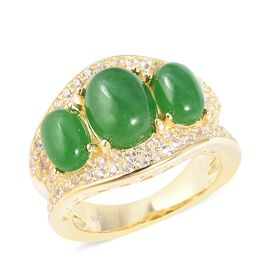 Chinese Green Jade (4.50 Ct),White Zircon Sterling Silver Ring  5.620  Ct.