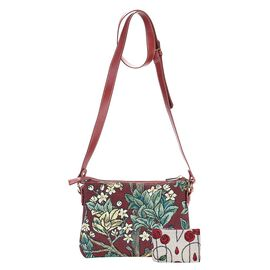Signare Tapestry William Morris Tree of Life Crossbody Bag - Red
